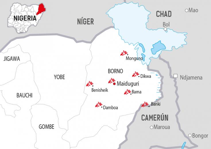 Mapa Borno, Nigeria