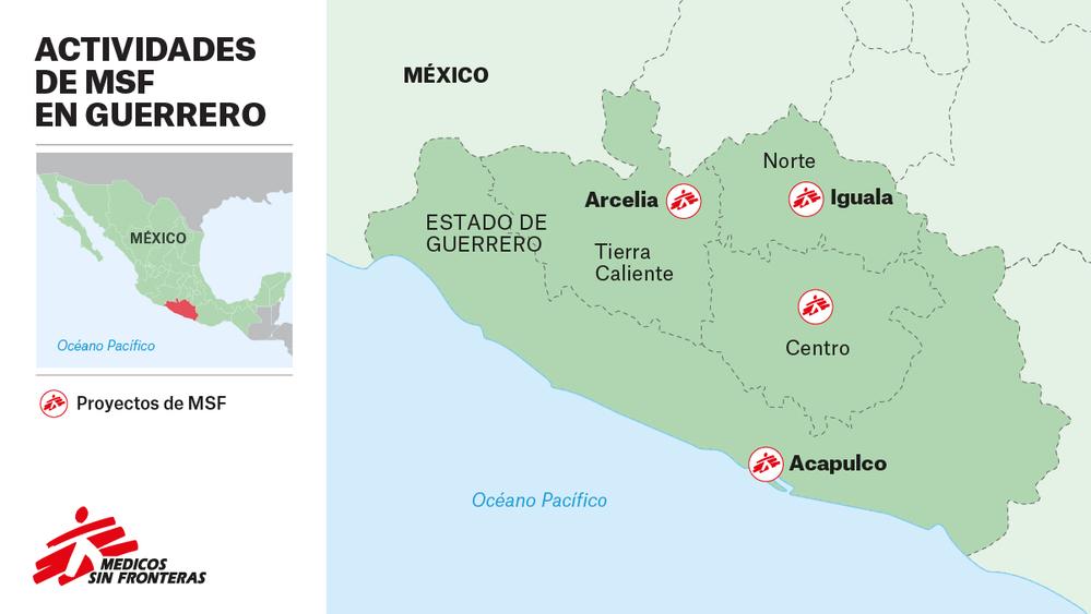Mapa de actividades médicas en Guerrero (México).