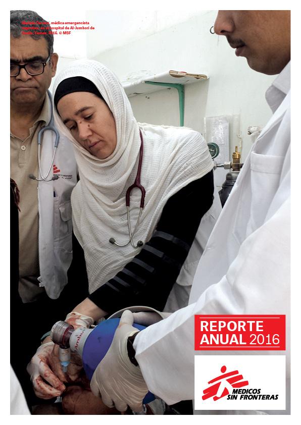 Tapa reporte anual 2016 de Médicos Sin Fronteras