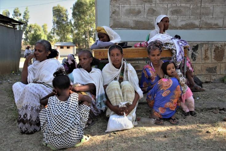 Mujeres desplazadas en la escuela Kundeya, en la ciudad de Axum. Marzo de 2021.