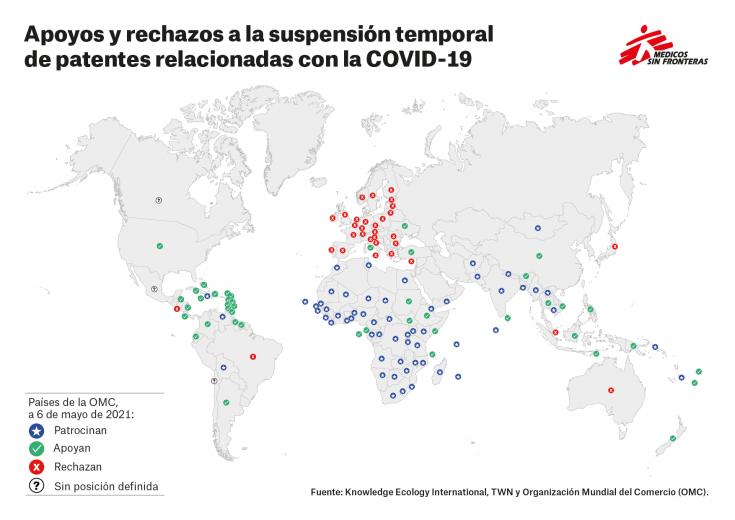 Apoyos y rechazos de los países en relación a la suspensión de patentes relacionadas con el COVID-19 mientras dure la pandemia, al 6 de mayo de 2021.
