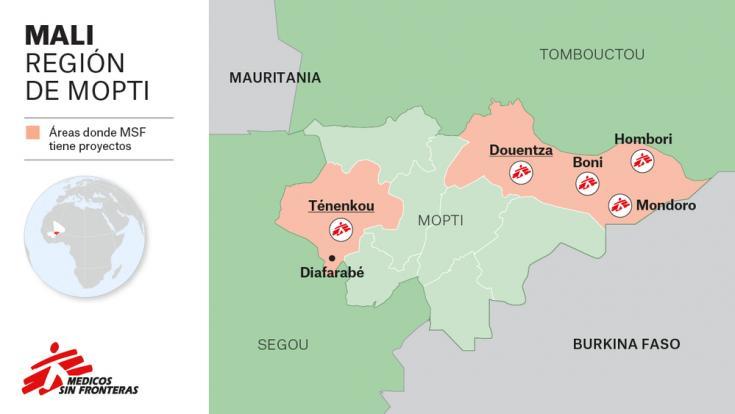 áreas donde MSF tiene proyectos en Mali