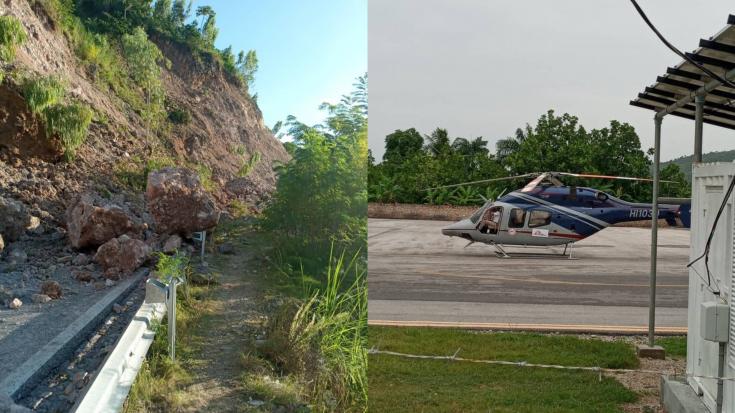 La ruta para llegar a Jérémie desde Les Cayes había sido bloqueada por un desprendimiento de tierra y rocas, por lo que para llegar a nuestro destino tuvimos que tomar un helicóptero. Haití, agosto de 2021