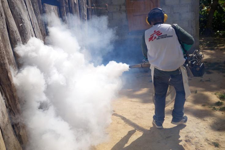 Fumigación contra el dengue en Honduras