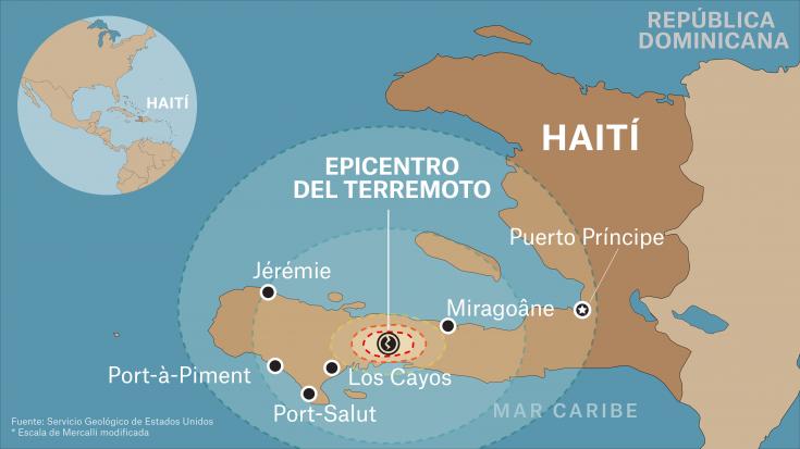 Mapa de Haití con la ubicación del terremoto de magnitud 7,2 ocurrido el 14 de agosto a las 8:30 de la mañana, afectando a las provincias Grande Anse, Nippes y Sud