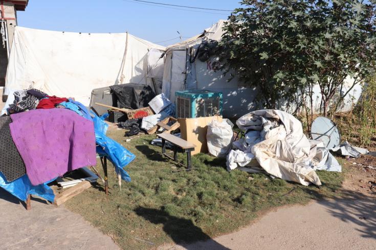 Campo de Laylan, Irak: bolsas y cajas que contienen las pertenencias de los desplazados internos que son devueltos a sus lugares de origen.