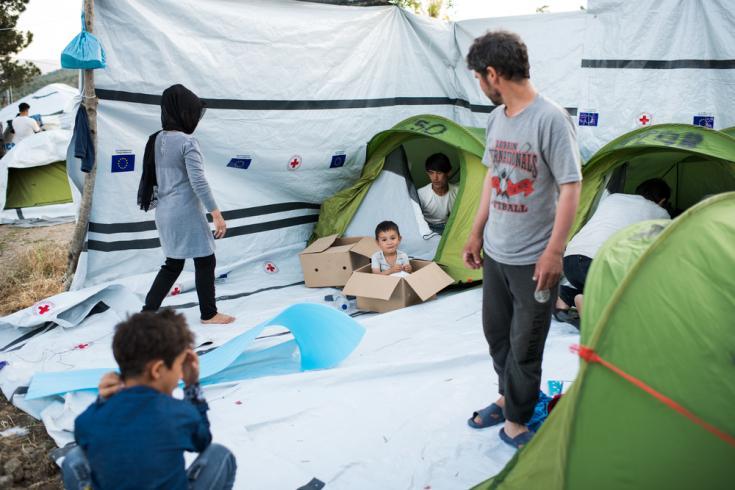 Refugiados en Moria, la isla griega de Lesbos