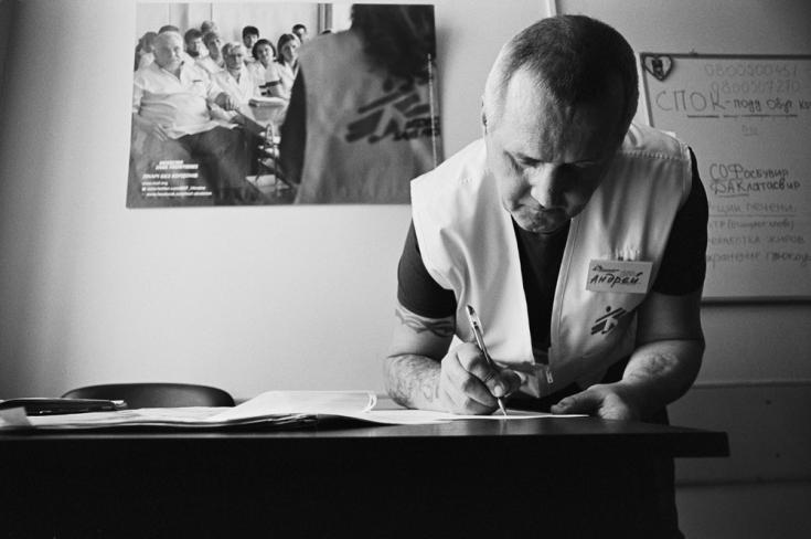 Andrii Konovalov fue paciente de hepatitis C, ahora es educador.