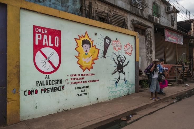 Un mural con información para prevenir la malaria en Las Claritas, estado de Bolívar, Venezuela.