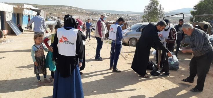 Distribución de kits de higiene en Abu Dali, Siria.