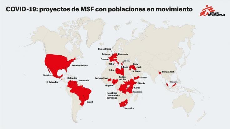 COVID-19: proyectos de Médicos Sin Fronteras con poblaciones en movimiento.
