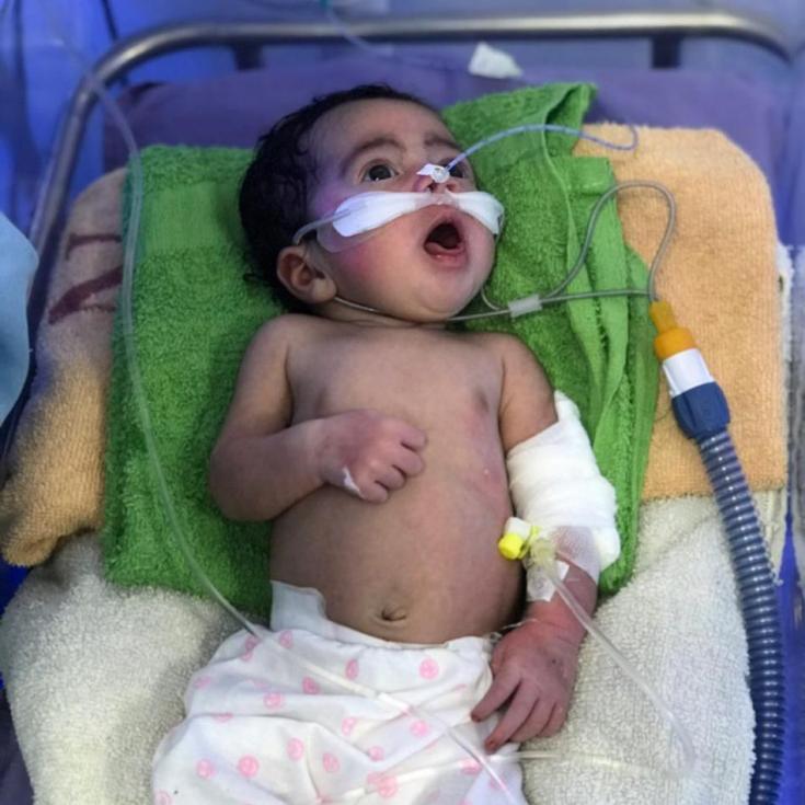 Uno de los pequeños paciente que atendimos en nuestra enfermería neonatal en Yemen.