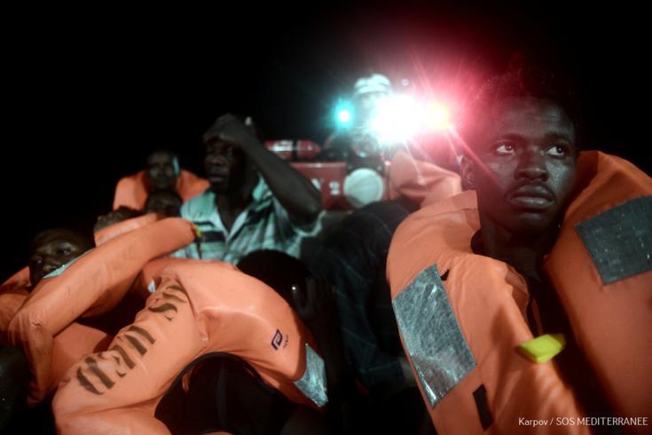 Personas rescatadas en el Mar Mediterráneo
