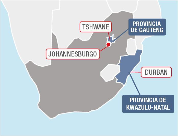 Provincias de Sudáfrica afectadas por los disturbios.