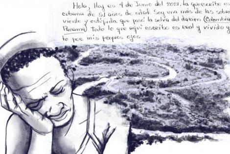 Inicio de la carta escrita por María, sobreviviente de la ruta migratoria a través de la selva del Darién, junto a una ilustración de su relato.