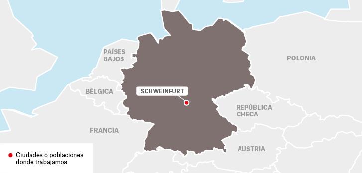 Mapa de proyectos de Médicos Sin Fronteras en Alemania : Schweinfurt  Francia Austria  Ciudades o poblaciones donde trabajamos