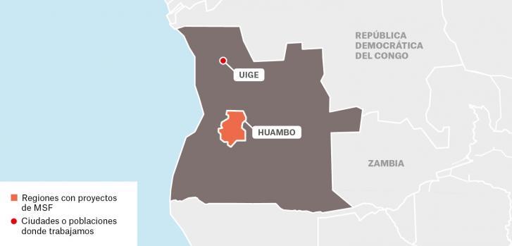 Mapa de proyectos de Médicos Sin Fronteras en Angola