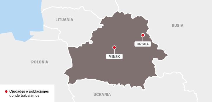 Mapa de los proyectos de Médicos Sin Fronteras en Bielorrusia.