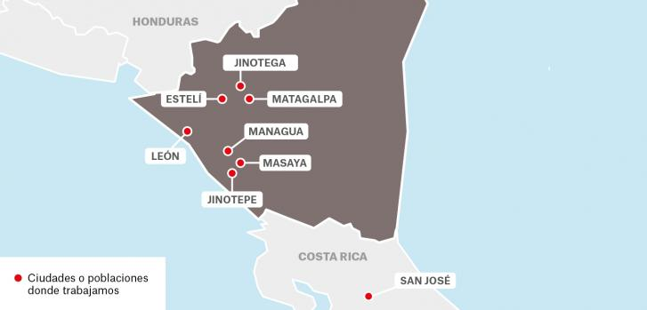 Mapa de proyectos de Médicos Sin Fronteras en Nicaragua