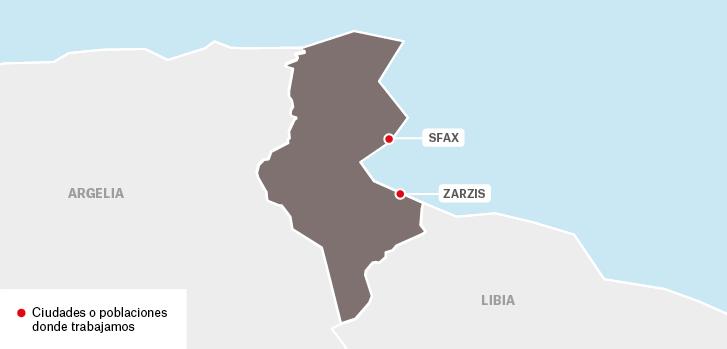 Proyectos de Médicos sin fronteras en Túnez : Sfax Zarzis  Argelia Libia  Ciudades o poblaciones donde trabajamos