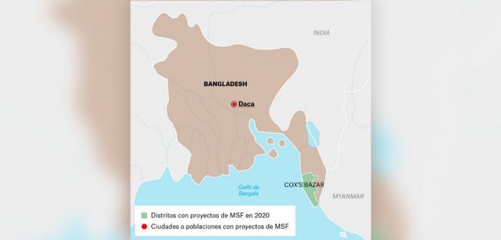 Mapa de los proyectos de Médicos Sin Fronteras en Bangladesh.