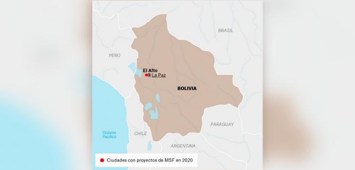 Mapa de los proyectos de Médicos Sin Fronteras en Bolivia.