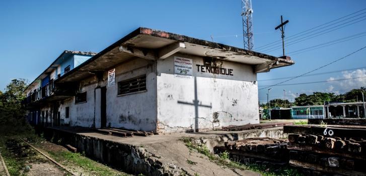 Estación de tren de Tenosique, en México.