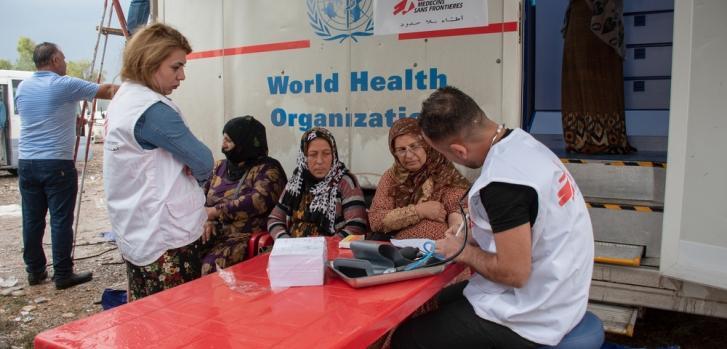 Vista de nuestra clínica móvil en el pueblo de Khaleh, junto a la frontera entre Irak y Siria.