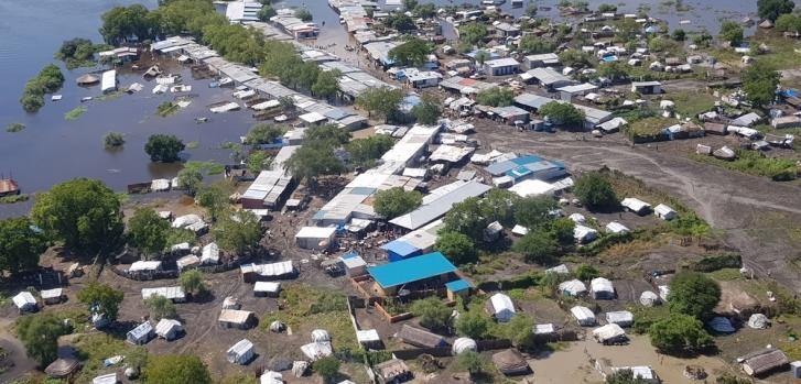 Vista aérea de Pibor inundado, en Sudán del Sur, durante octubre de 2019.
