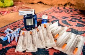 Kit de tratamiento para pacientes con diabetes de Tipo 1. Incluye un glucómetro, tiras para glucómetro, agujas e insulina, entre otros.