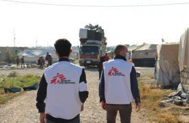 Parte del equipo de Médicos Sin Fronteras durante el cierre del campo de Laylan, Irak.