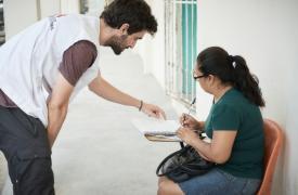 Marcelo Fernández, coordinador médico de MSF en México, trabajando en un proyecto de asistencia a victimas de violencia en Reynosa. (2017)