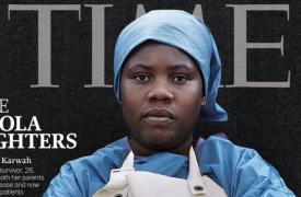 """Salomé salió en la tapa de la revista Time en 2014, cuando fueron elegidos como """"Persona del Año"""" los trabajadores que frenaron la epidemia del Ébola."""